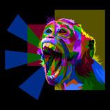 colorful screaming monkey on pop art style isolated black backround