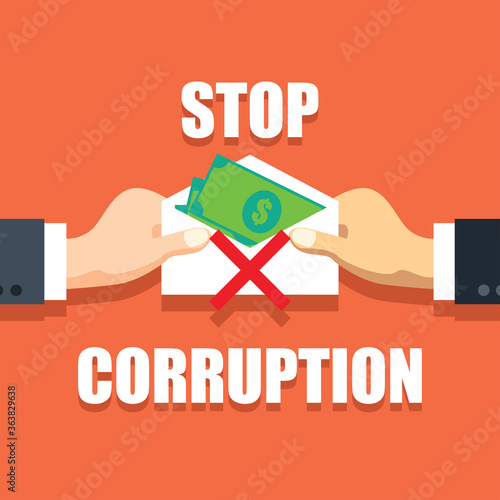 stop corruption concept businessman hand refusing corruption money, vector illus Fototapeta