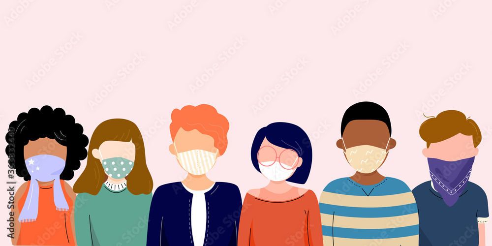 Fototapeta Group of people wearing cloth face covering or fabric mask to protect and help slow spread of Covid19 or Coronavirus, disease, flu, air pollution and contamination. Diverse people. Vector illustration