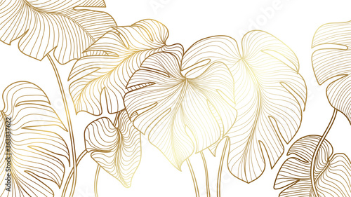 Luxury gold nature background vector Tableau sur Toile