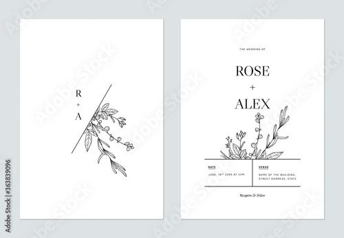 Fotografie, Obraz Minimalist floral wedding invitation card template design, floral line art ink d