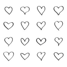 Outline Heart Icons. Vector Se...