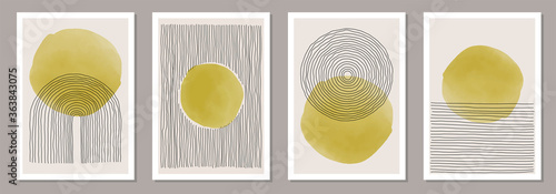 Fototapeta Trendy set of abstract creative minimal artistic hand painted compositions obraz