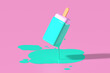 canvas print picture - 3d render of one turquoise fruit stick ice cream melting on pastel pink background in the air. Minimal summer concept.