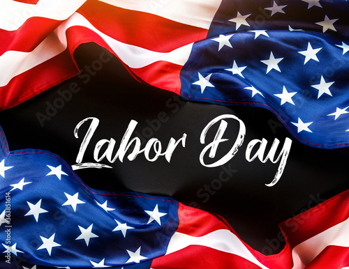 Fotografie, Tablou Happy Labor day banner, american patriotic background with USA flag