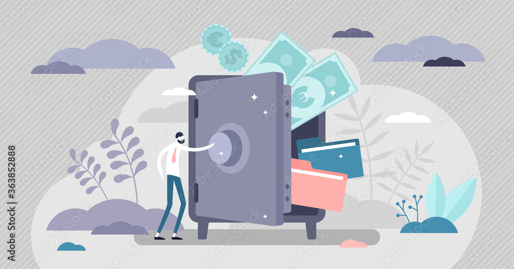 Fototapeta Bank safe with secured money and valuables in security tiny persons concept