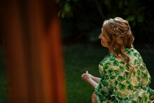 Midsection Of Woman Standing Against Plants, Bride Waiting For Her Wedding Dress