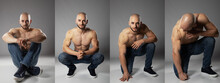 Bald Head Young Turkish Man Transformation Of Posing In Studio From Sit On Floor To Crouch While Showing His Topless Body With Visable Sixpack And Muscles On Arms And Chest