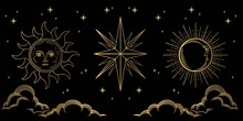 Set Of Design Elements In Gold Colour On Black Background. Occult Symbols Of Moon, Sun, And Stars. Vector Templates.