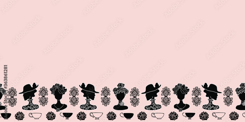 Fototapeta Vector Art Deco tea party pink, black and white decorative seamless border pattern.