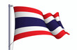 Thailand flag state symbol isolated on background national banner. Greeting card National Independence Day of the Kingdom of Thailand. Illustration banner with realistic state flag.