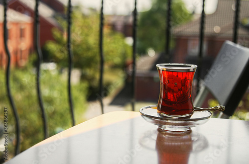 Close-up Of Tea In Glass On Table Canvas Print