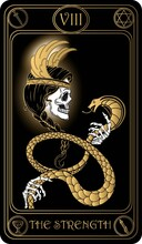 The Strength. The 8th Card Of Major Arcana Black And Gold Tarot Cards. Vector Hand Drawn Illustration With Skulls, Occult, Mystical And Esoteric Symbols.