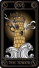 The Tower. The 16th Card Of Major Arcana Black And Gold Tarot Cards. Vector Hand Drawn Illustration With Skulls, Occult, Mystical And Esoteric Symbols.