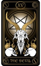The Devil. The 15th Card Of Major Arcana Black And Gold Tarot Cards. Vector Hand Drawn Illustration With Skulls, Occult, Mystical And Esoteric Symbols.