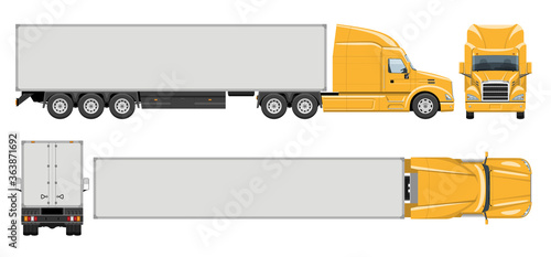 Semi trailer truck vector template with simple colors without gradients and effects Canvas