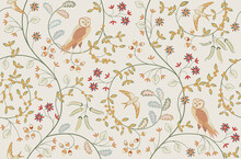 Vintage Birds In Foliage With ...