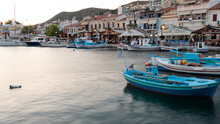 Samos Island. Greece. Sea And Pythagorion Village Background By Night Long Exposure