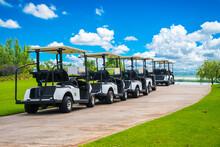 Golf Cart On Golf Course, Park...
