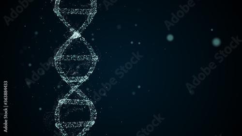 Abstract digital DNA molecule visualisation shimmering over dark-blue background Wallpaper Mural