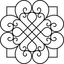 Wrought Iron Decor Ornament Design Floral Gate Wire