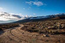 Dirt Road In The Desert Eastern Sierra Nevada Mountains Of California Usa