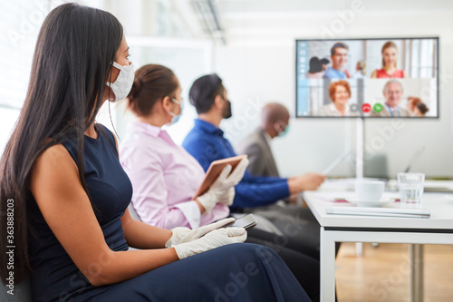 Obraz Video conference in the business team meeting - fototapety do salonu
