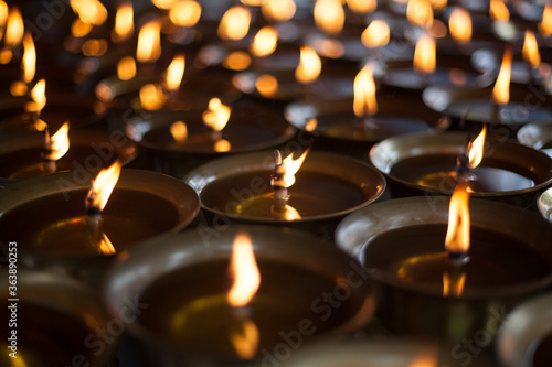 Burning Oil Lamps At A Temple Canvas Print