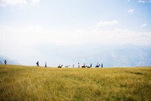 People With Lamas Walking On Grassy Landscape Against Cloudy Sky