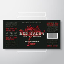 Handcrafted Vegetables Salsa Sauce Label Template. Abstract Vector Packaging Design Layout. Modern Typography Banner With Hand Drawn Tomato, Chily Pepper And Garlic Silhouettes Background.