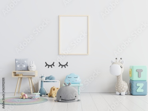 Fotografie, Tablou Picture Frame Hanging On Wall With Toys On Floor