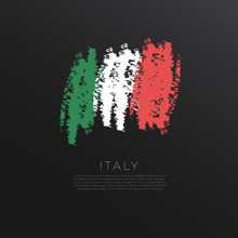 National Flag In Grunge Brush Stroke Isolated On Black Background : Vector Illustration