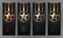Set Of Black Banners, Ruby,Diamond,sapphire,emerald Star, Vector Illustration