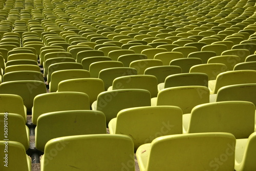 Full Frame Shot Of Yellow Bleachers In Theater Canvas Print