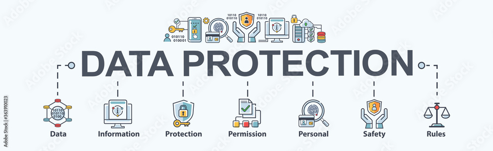Fototapeta Data protection banner web icon for personal privacy, data storage, information, protection, permission, rules, safety and cyber security. Minimal vector infographic.