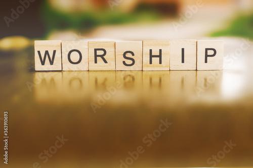 The word WORSHIP written in wood block. Slika na platnu