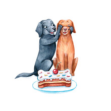 Watercolor Illustration Of A Funny Dogs. Cute Dog Isolated On White Background. Watercolor Hand-drawn Illustration. Animal Clip Art. Clipart.  Watercolor Cartoon Style Illustration.