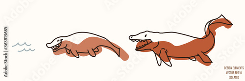 Платно Mosasaurus dinosaur gender neutral baby illustration clipart