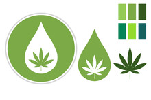Set Of CDB Logo With Marijuana Leaf. Collection Of Elements And Color Palette. Vector EPS10 Illustration.