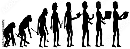 Silhouette evolution from monkey to man Wallpaper Mural