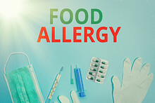 Text Sign Showing Food Allergy...