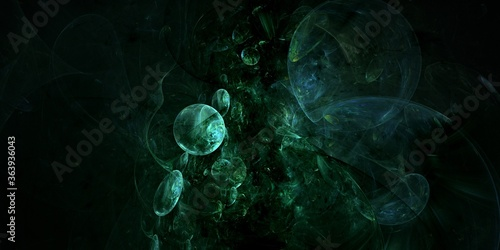 Photo dark bubbles into the abyss abstract fractal computer generated background illus
