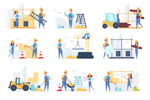 Builders Scenes Bundle With People Characters. Engineer, Painter, Road Worker And Bricklayer Working At Construction Site Situations. Professional Engineering And Building Flat Vector Illustration