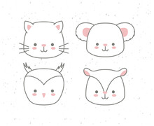 Set Of Icons Animals Baby Kawa...