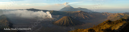 Steam Emitting From Mt Bromo And Mt Semeru Fototapeta