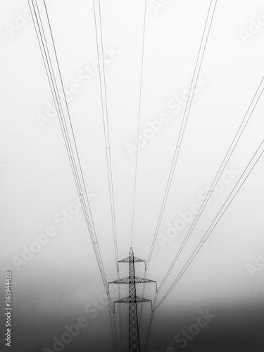 Obraz na plátně Low Angle View Of Electricity Pylon Against Clear Sky