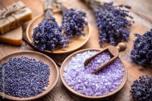 Lavender flowers and coloured bathing salt #363946478