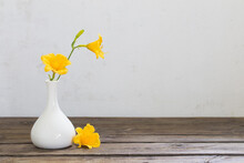 Yellow Day-lily Flowers In White Vase On Wooden Table