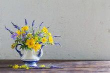 Bouquet With Blue And Yellow F...