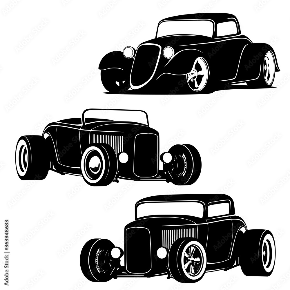 Fototapeta Hot Rod Cars Silhouette Set Isolated Vector Illustration